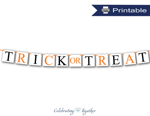 Kid's Halloween party trick or treat banner - Celebrating Together