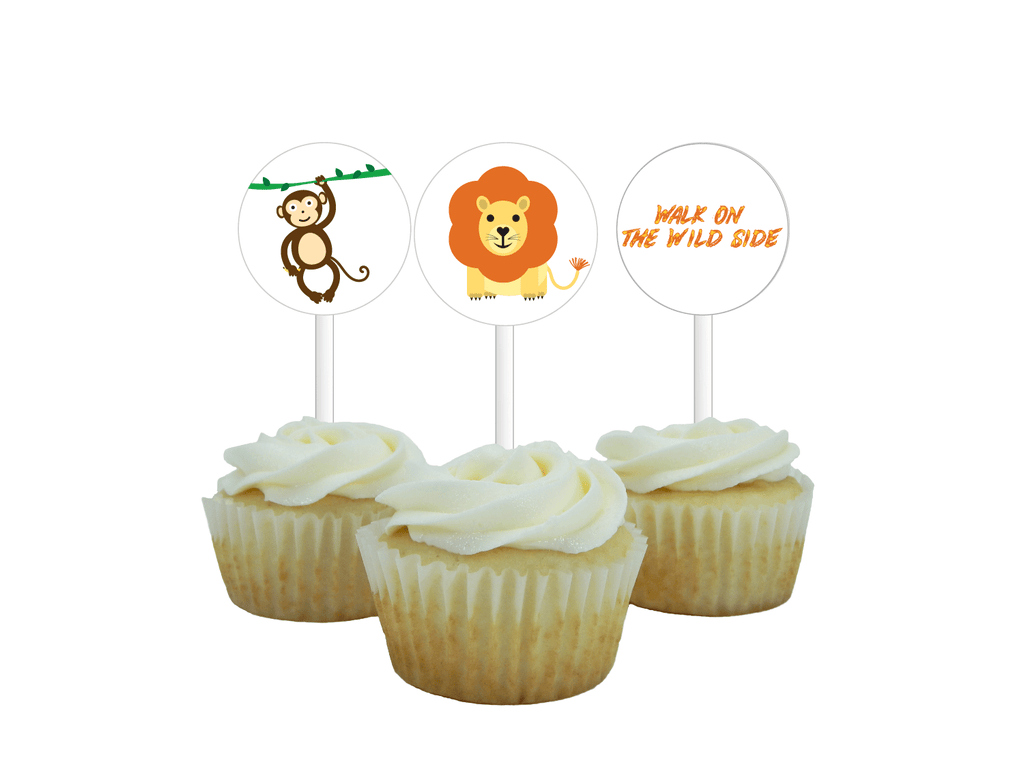 Printable lion and monkey cupcake toppers - DIY zoo party decor -  Celebrating Together