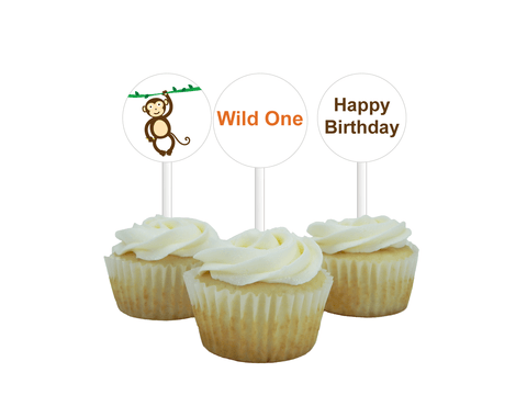 Printable Zoo Happy Birthday Cupcake Toppers