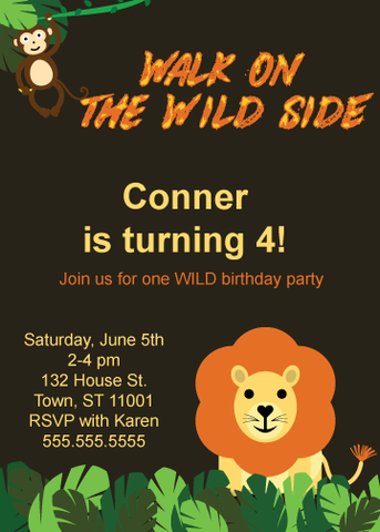 printable walk on the wild side birthday party invitations - Celebrating Together