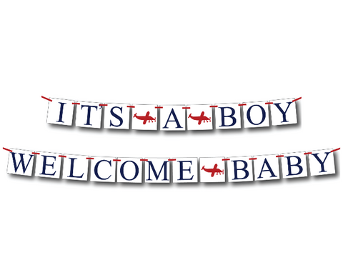 airplane it's a boy banner and welcome baby banner set - Celebrating Together