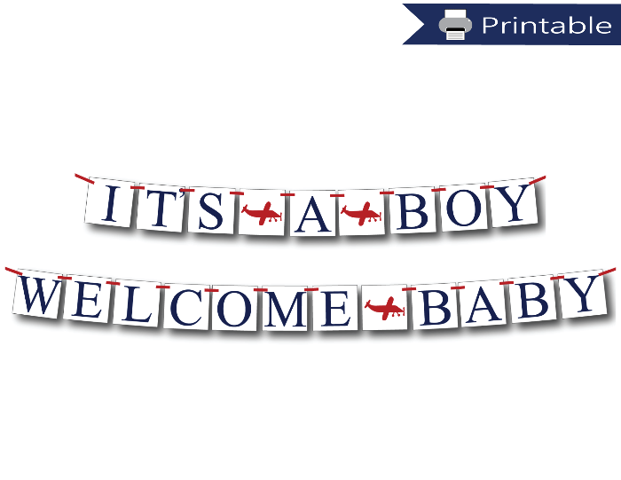 printable it's a boy banner and welcome baby banner bundle - Celebrating Together