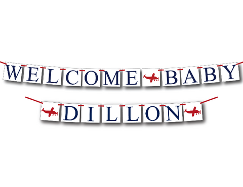plane welcome baby banner - Celebrating Together