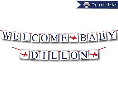printable welcome baby banner and personalized baby name banner bundle - Celebrating Together