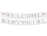 lavender welcome baby banner - purple girl baby shower decoration - Celebrating Together