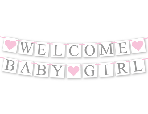 printable welcome baby girl banner - Celebrating Together