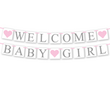diy welcome baby girl banner - printable baby shower banner lettering template - Celebrating Together
