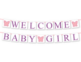 printable welcome baby banner - butterfly baby shower decor - Celebrating Together