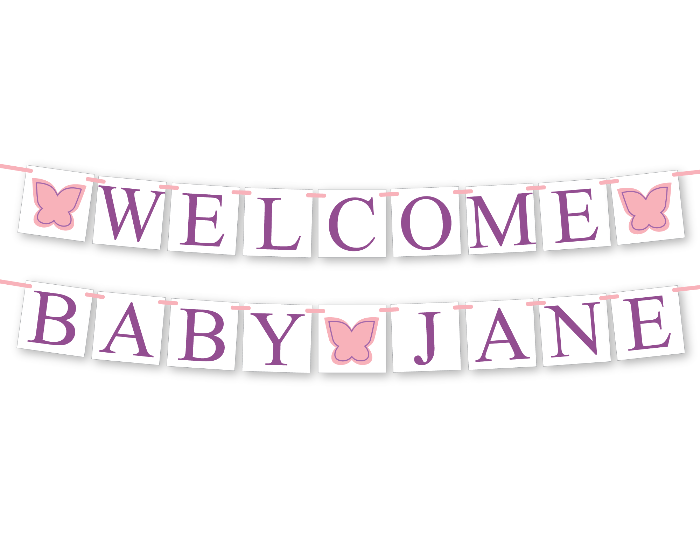 printable butterfly welcome baby personalized name banner for baby shower - Celebrating Together