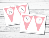 DIY pink and gray happy birthday banner - Celebrating Together