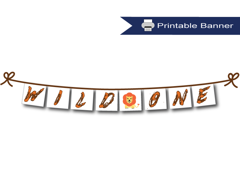 picture regarding Birthday Banner Printable identified as Printable Wild One particular 1st Birthday Banner