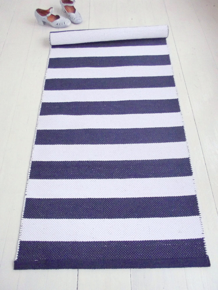 Navy Blue And White Striped Cotton Rug 26 X 5 Sevensmith