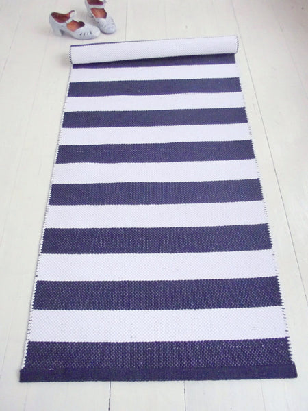 Navy Blue And White Striped Cotton Rug 2 6 X 5
