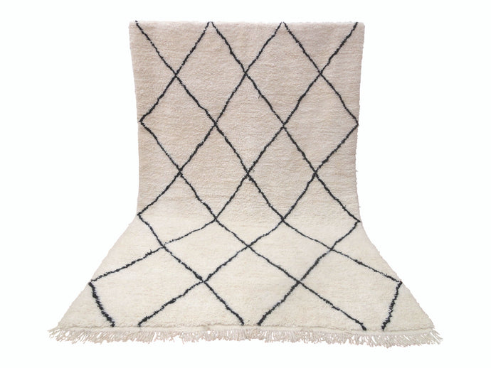 Moroccan Beni Ourain Wool Rug - White Diamond