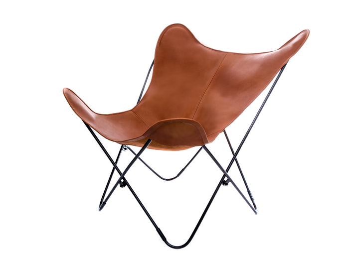 Vaqueta Caramel Brown Leather Butterfly Chair