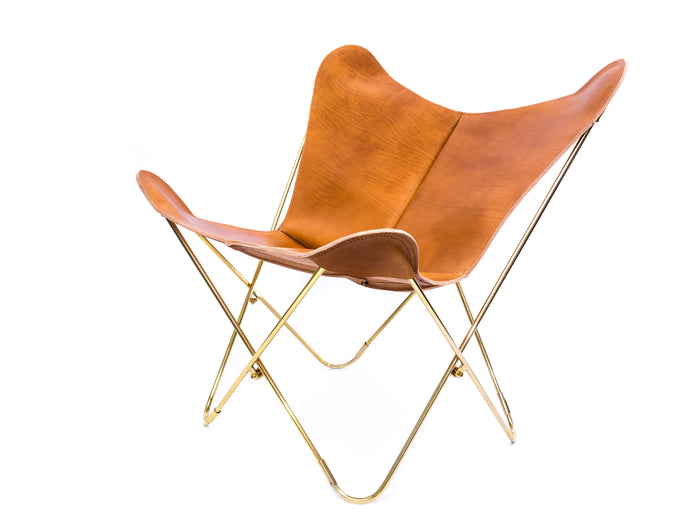 Thick Leather Butterfly Chair - Camel Brown