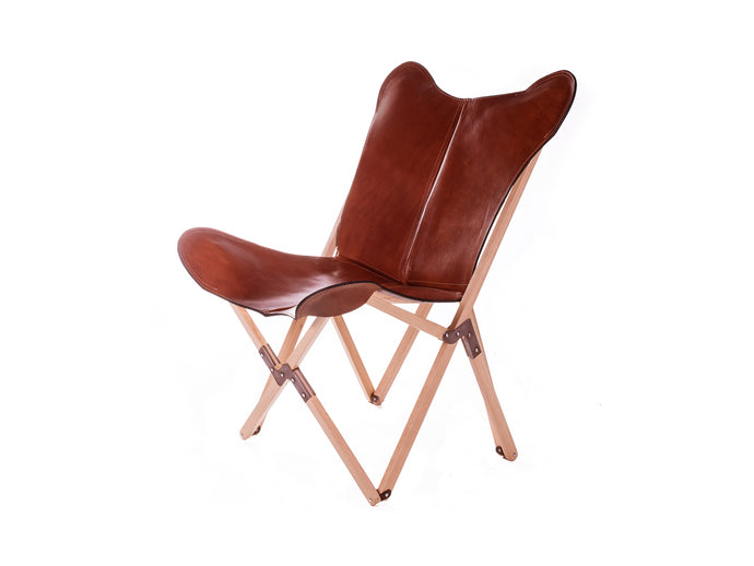 Thick Leather Butterfly Chair with Wood Frame - Malbec