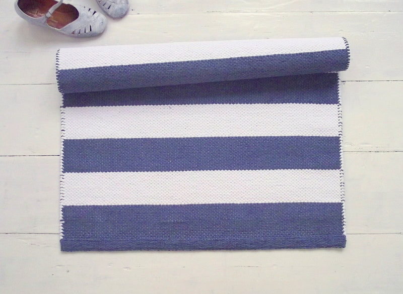 Blue And White Striped Cotton Rug 2 6 X 5 Sevensmith