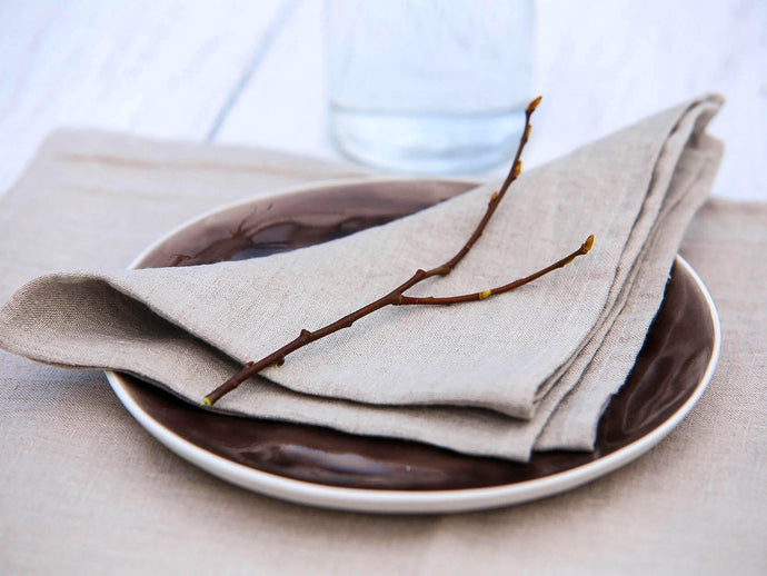 Natural Grey Linen Napkins - Set of 4