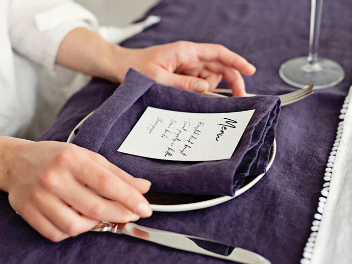 Deep Purple Linen Napkins - Set of 4