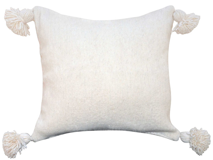 Moroccan Pom Pom Pillow Cover - Ivory Wool