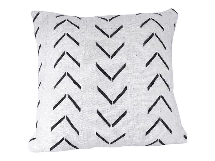 Black Arrow White Mudcloth Pillow Cover