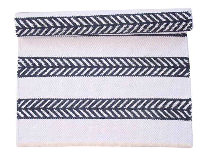 Black and White Chevron Cotton Rug
