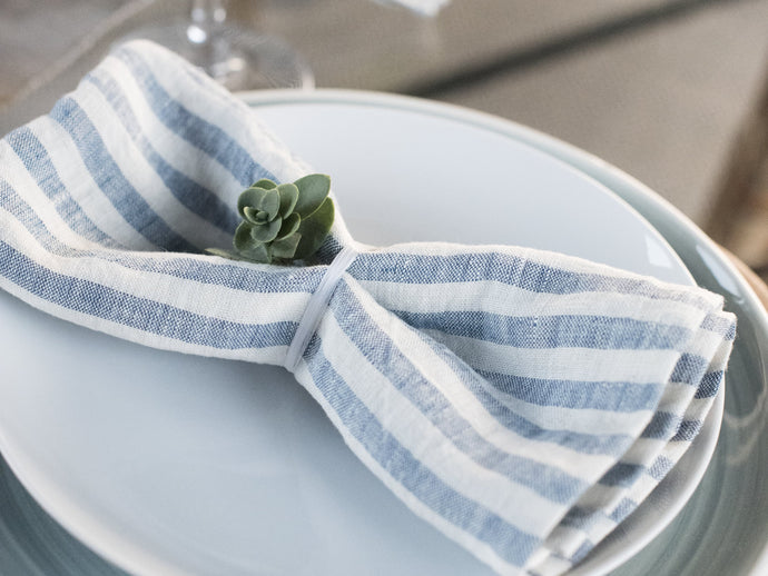 Blue Striped Linen Napkins - Set of 4