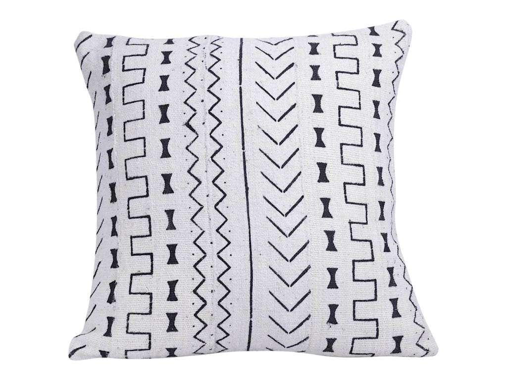 Bogolanfini White Mudcloth Pillow Cover