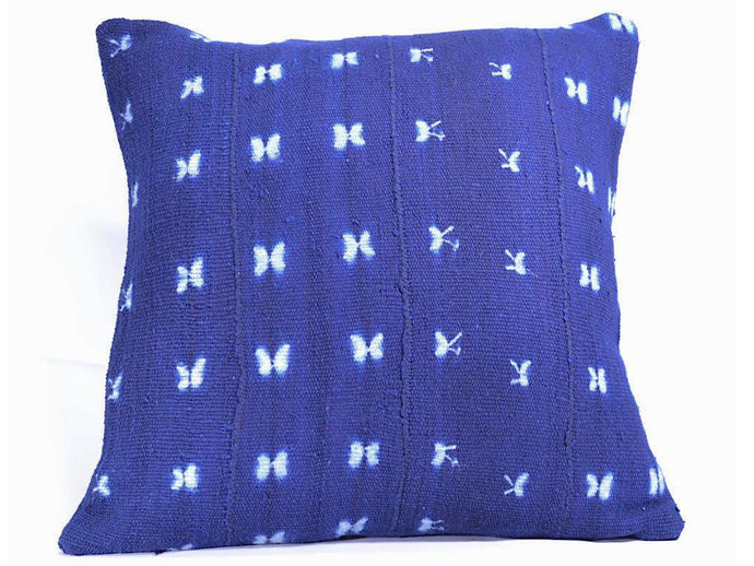 Butterfly Indigo Mudcloth Pillow Cover