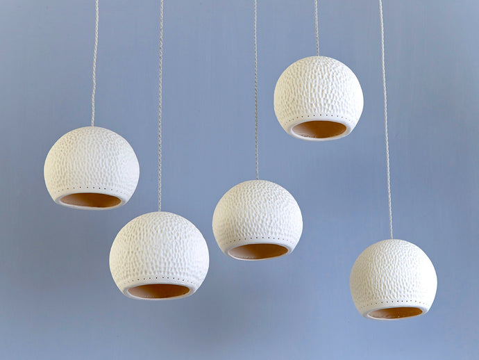 Cratered Sphere Ceramic Pendant Lights