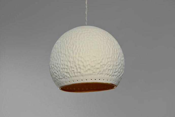 Single Cratered Sphere Ceramic Pendant Light