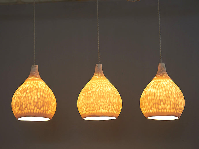 Cratered Teardrop Ceramic Pendant Lights