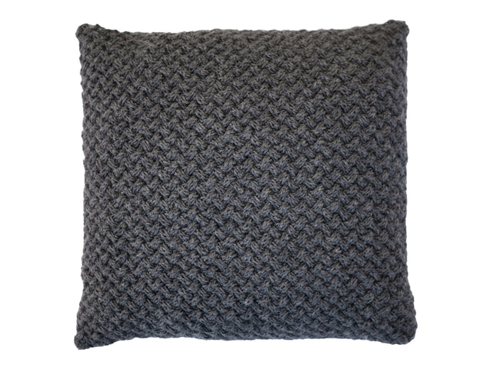 Elena Knitted Pillow Cover - Dark Gray