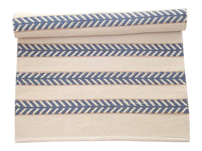 Ivory Blue and Beige Chevron Cotton Rug
