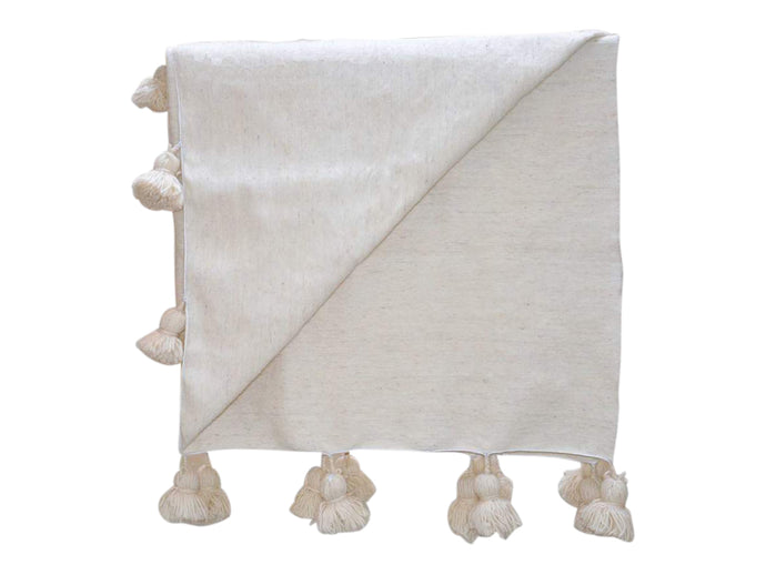 Moroccan Wool Pom Pom Bed Covering - Ivory
