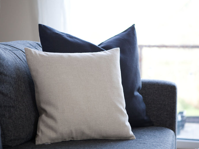 Linen Square Pillow Cover - Light Gray