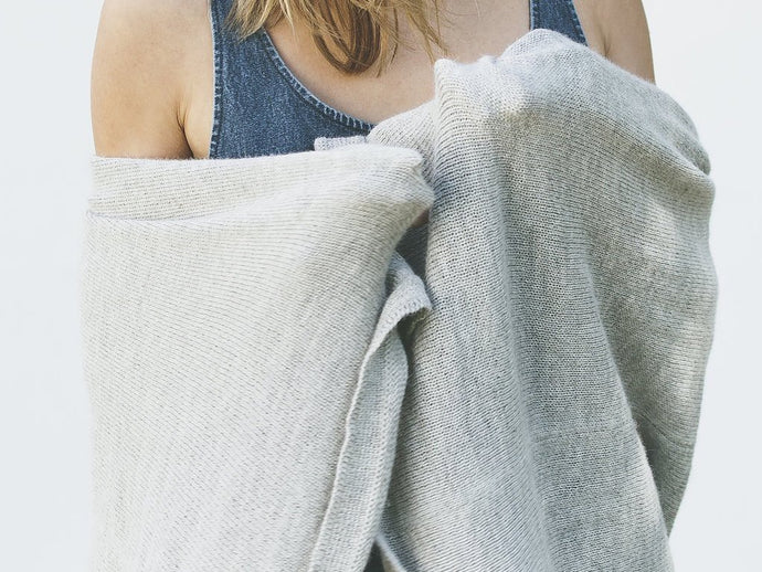 Light Gray Melange Alpaca Throw Blanket