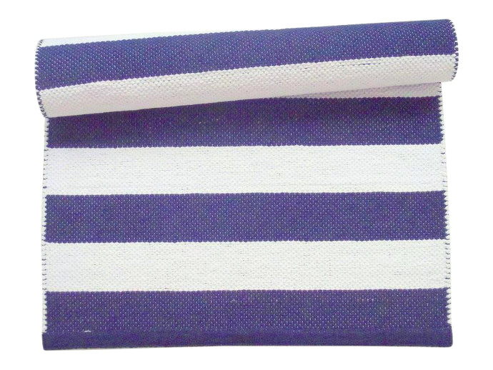 Navy Blue and White Striped Cotton Rug