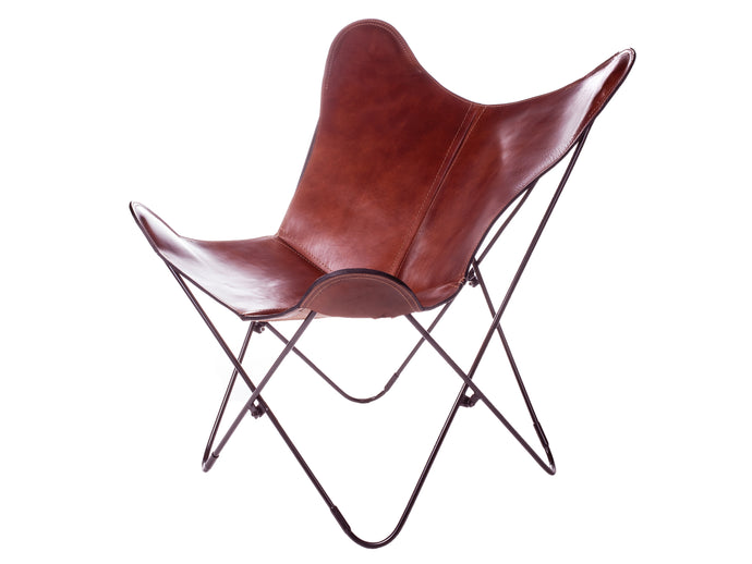 Thick Leather Butterfly Chair - Malbec Brown