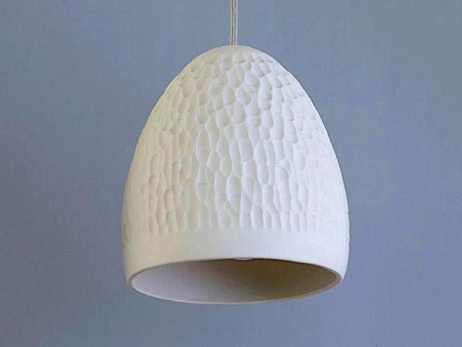 Single Cratered Ceramic Pendant Light