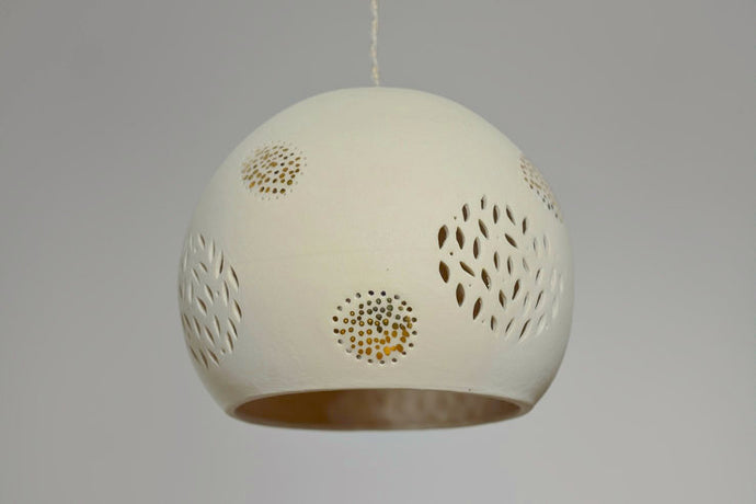 Single Gold Dotted Ceramic Pendant Light
