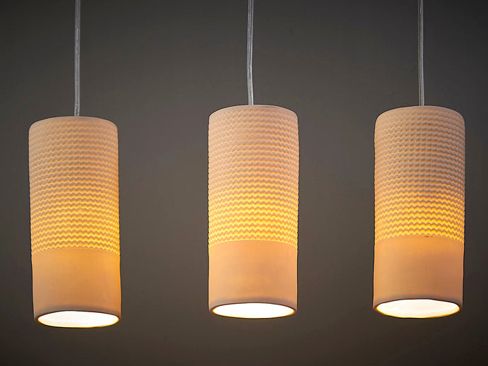 Wavy Lined Ceramic Pendant Lights