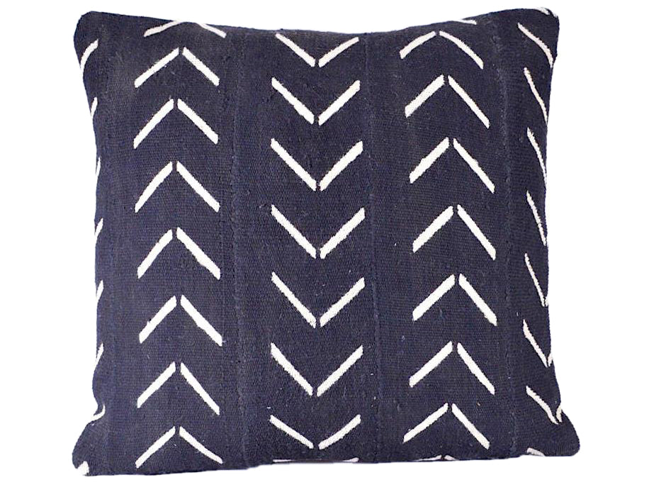 White Arrow Black Mudcloth Pillow Cover