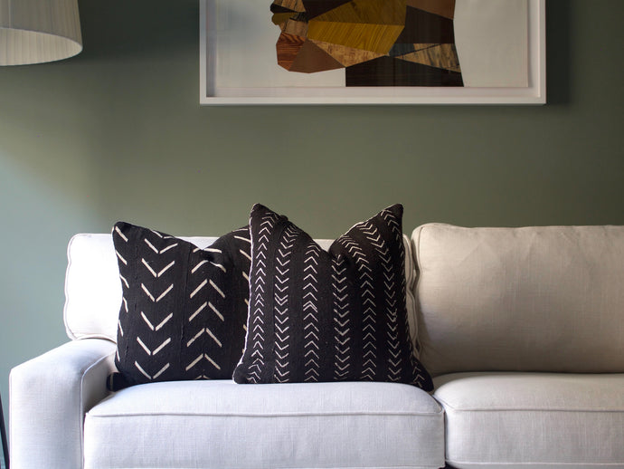 Mudcloth Pillow Cover - Chevron Black