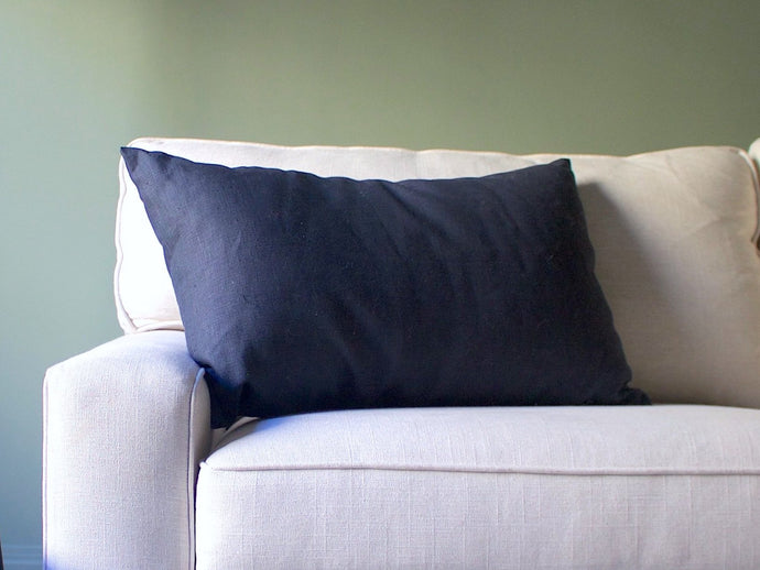 Linen Lumbar Pillow Cover - Dark Blueberry Gray
