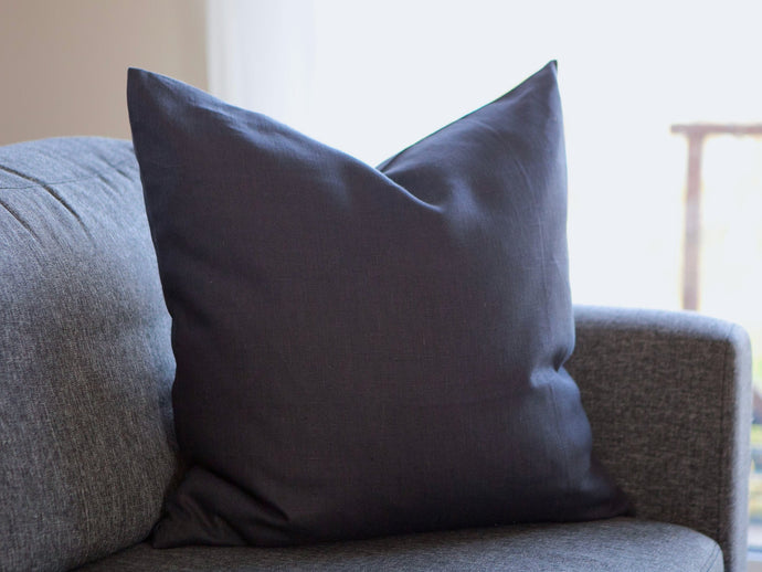 Linen Square Pillow Cover - Dark Gray