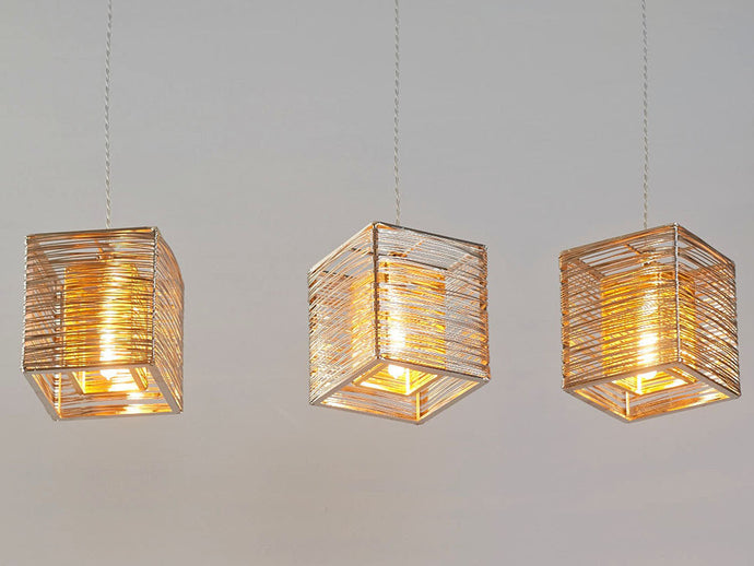 Set of 3 Double Cube Modern Pendant Lights