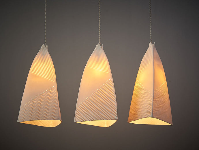 Lined Ceramic Cone Pendant Lights