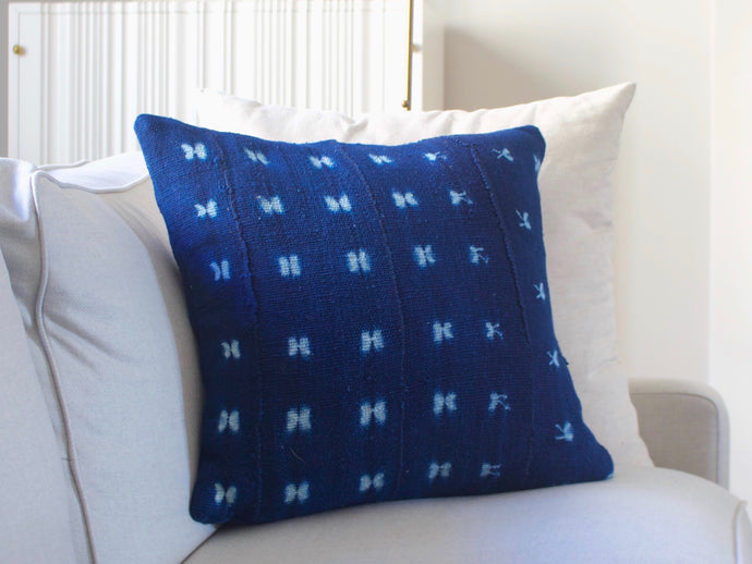 Mudcloth Pillow Cover - Butterfly Indigo